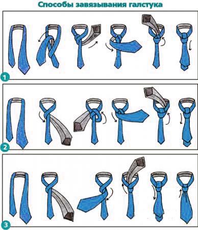 Схема как завязывать галстук